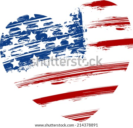 Grunge USA flag - splattered star and stripes in heart shape - stock vector