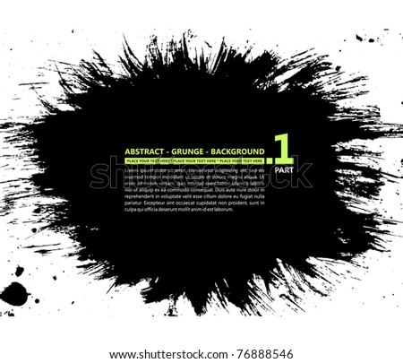 Grunge vector abstract silhouette background banner ink stain blot - stock vector