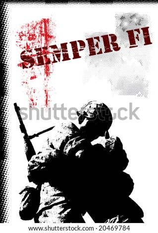 Grunge Vector Background With Military Theme - stock vector