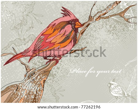 Grunge vector background with red colorful bird on a tree