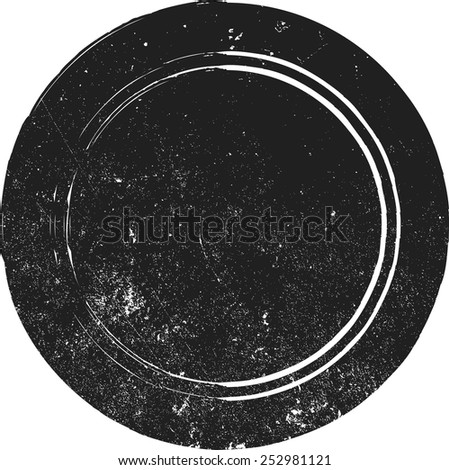 Grunge Vector Circle Stamp with High Detailed Distress Texture - stock vector