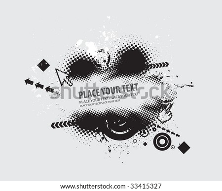 grunge vector composition with halftone urban background - stock vector
