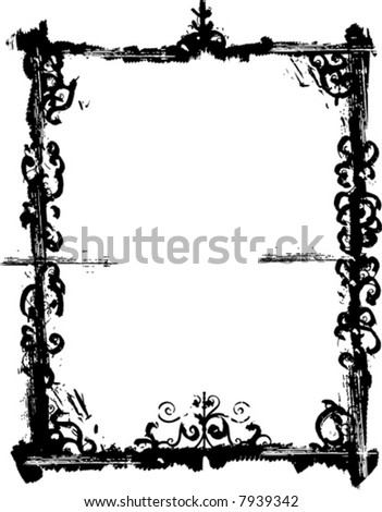 Grunge vector frame series with ornamental details. - stock vector