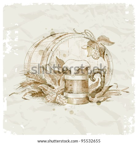 Grunge vector illustration - hand drawn still life with hop, mug of beer and wheat - stock vector