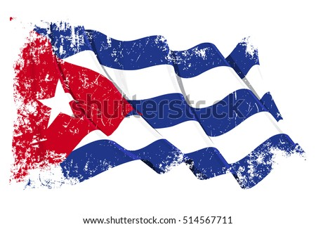 Grunge Vector Illustration of a waving Cuban flag. All elements neatly organized. Texture, Lines, Shading & Flag Colors on separate layers for easy editing.