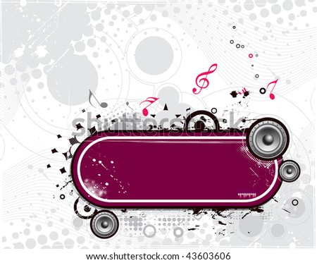 grunge vector music composition with halftone retro background, vector illustration - stock vector