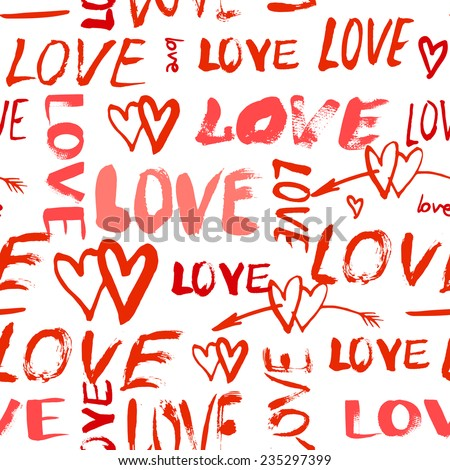 Grunge vector seamless pattern with hand painted hearts and words love. Bright red bold print for valentines day wrapping paper decor or wedding invitation card background - stock vector