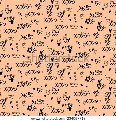 Grunge vector seamless pattern with hand painted hearts and words xoxo. Ditsy print for valentines day wrapping paper decor or wedding invitation card background in black and organic beige colors - stock vector