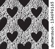 Grunge vector seamless texture with hearts. Heart background. Heart pattern. Love background. Love pattern. Seamless pattern. Retro texture. Vintage texture. Dark texture. Old pattern. Old texture - stock vector