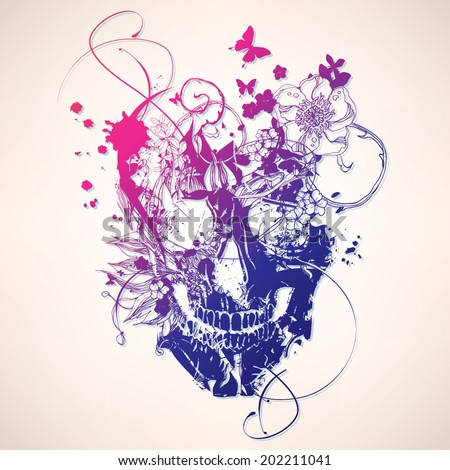 Grunge vector skull  with flowers - stock vector