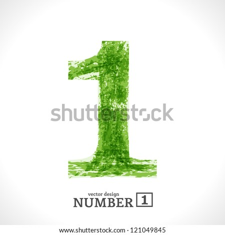Grunge Vector Symbol. Green Eco Style. Number 1. - stock vector