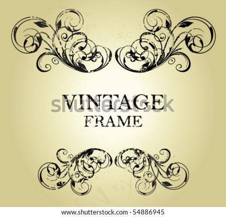 grunge vintage frame - stock vector