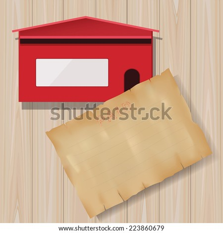 Grunge vintage paper with red mail box on wooden texture background. - stock vector