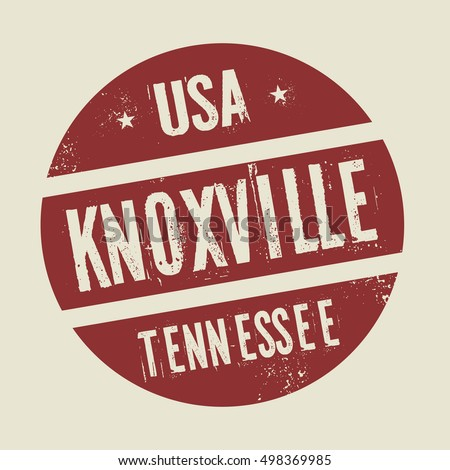 Grunge vintage round stamp with text Knoxville, Tennessee, vector illustration