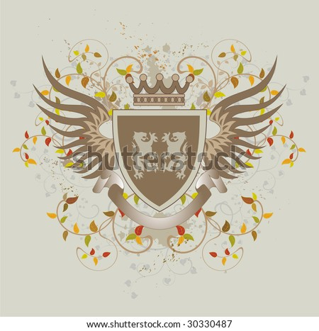 Grunge vintage shield with lions - stock vector