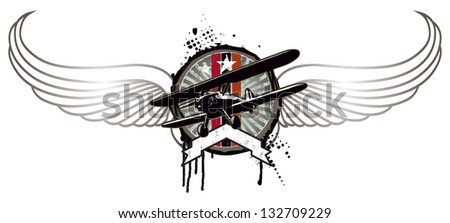 grunge vintage shield with plane and wings - stock vector