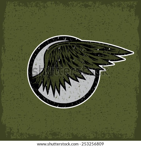 grunge vintage sport label with wings - stock vector