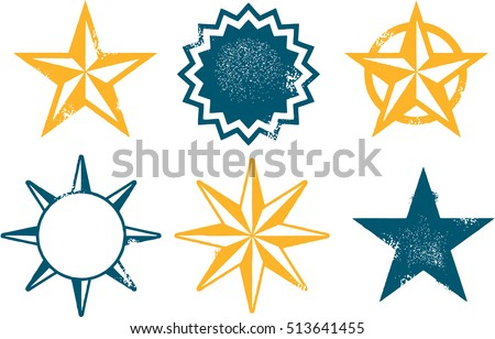 Grunge Vintage Vector Star Collection