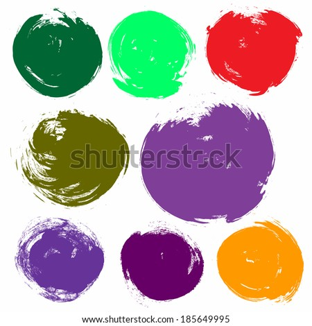 Grunge Watercolor Bright Abstract Hand drawn Texture circle backgrounds set - vector illustration - stock vector