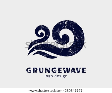 Grunge wave logo template. Stylized concept icon isolated on white background. Vector symbol. - stock vector