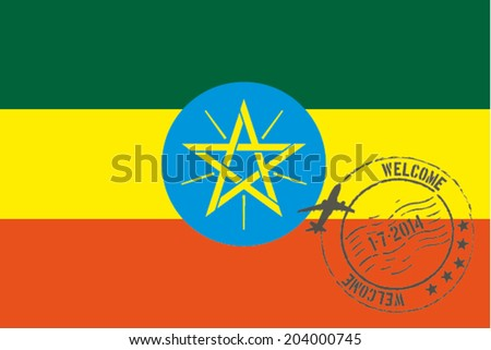 Grunge welcome rubber stamp with date on the flag of Ethiopia - stock vector