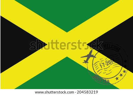 Grunge welcome rubber stamp with date on the flag of Jamaica