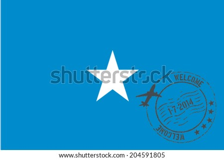 Grunge welcome rubber stamp with date on the flag of Somalia - stock vector
