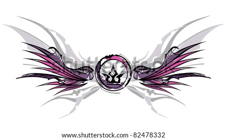 Grunge wing and crown - stock vector