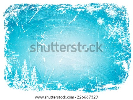 grunge winter background with trees and snowflakes. vector illustration - stock vector