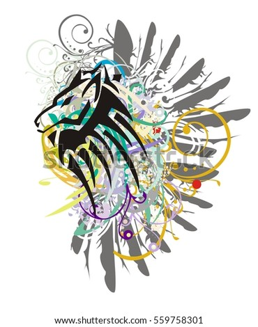 Grunge wolf head. Tribal peaked wolf head with colorful splashes and gray eagle wings