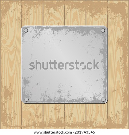 grunge wooden background with plaque - stock vector