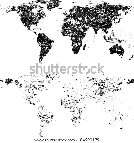Grunge world maps - stock vector
