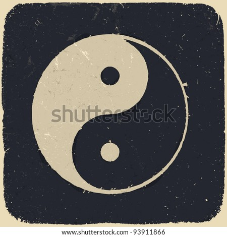 Grunge yin yang symbol background. Vector illustration, EPS10. - stock vector