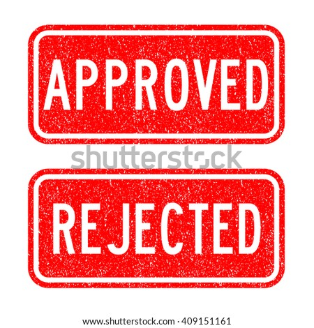 Grunged approve, reject stamp set - stock vector