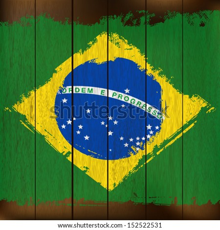 Grunged Brazilian Flag over a wooden plank  background  illustration - stock vector