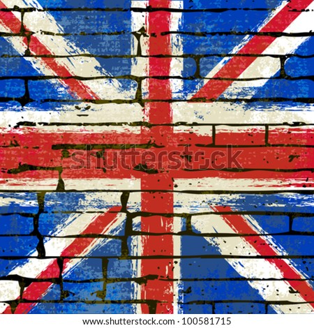Grunged British Union Jack Flag over a brick wall  background  illustration - stock vector