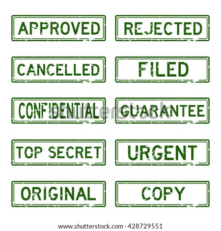 Grunged stamp set (green color) - stock vector