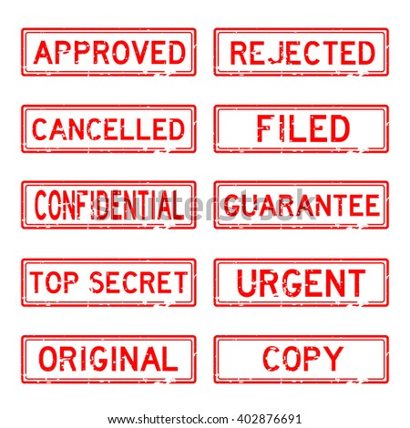 Grunged stamp set (red color) - stock vector