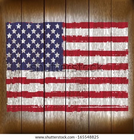Grunged United States of America Flag over a wooden plank  background  illustration - stock vector