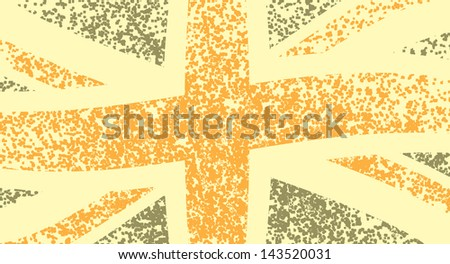 Grungy and wavy flag of Great Britain, illustration - stock vector