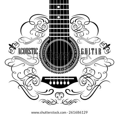 grungy background with black acoustic guitar - stock vector