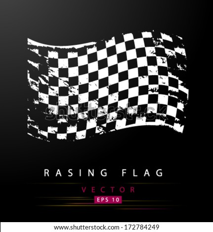 Grungy black and white racing flag - stock vector