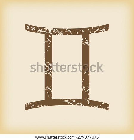 Grungy brown icon with gemini zodiac symbol, on beige background - stock vector