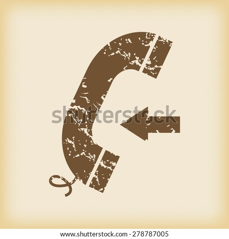 Grungy brown icon with image of phone receiver and left arrow, on beige background - stock vector