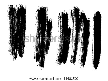 Grungy brush strokes set - stock vector