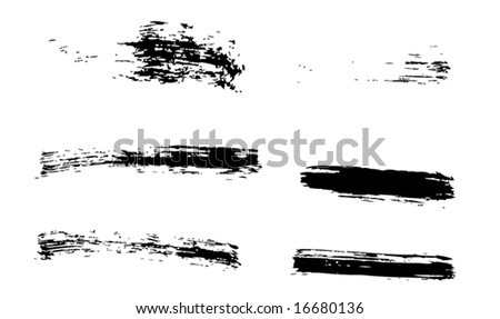 Grungy brush strokes set