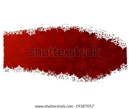 Grungy Christmas, winter snowflake background in red and white. Space for your text. - stock vector