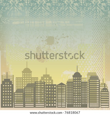 grungy city - stock vector