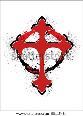 grungy crown of throns with red christian cross - stock vector