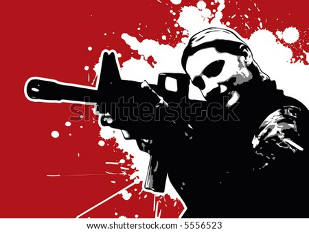 grungy female vector soldier - stock vector
